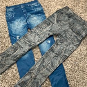 Pants - 2x Jeggings Gray And Blue Fits Like Small